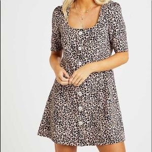 Altar'd State Rosalyn Leopard Print Dress S